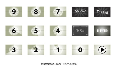 Old Filmstrip vintage The End cinema Vector screen counters theatre Movie clap fun funny countdown Grunge film strip old movie timer numbers number camera Old film Sundance Festival countdown frame