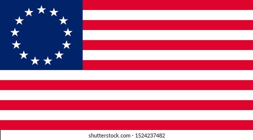 Old flag of the United States of America, often referred to as the American flag or U.S. flag, Also known as Betsy Ross flag. Vector illustration