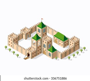 Old fortress fort. Isometric view vintage medieval building home