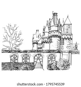 Old French architecture. A medieval castle in the Loire valley. The Castle Of Ussé. Vector linear drawing. For a history book or as a coloring page for children and adults.Black and white illustration