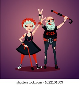 Old friedns. Senior adult couple. Rock fans. Humor illustration, cartoon characters