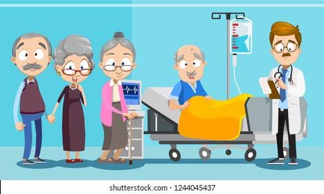 Old friends visit man in hospital vector illustration. Cartoon ill granddad lying in bed with IV drip at clinic ward. Doctor standing near patient and writing recipe. Healthcare concept