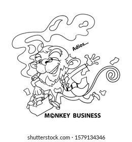 Old Funny Monkey characters wearing a suit and eyeglasses such as businessman, running with a suitcase fulfilled with the money, after deceiving customers. Monkey business Coloring Book Cartoon Vector