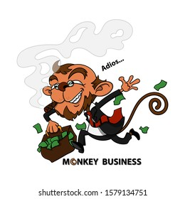 Old Funny Monkey characters wearing a suit and eyeglasses such as businessman, running with a suitcase fulfilled with the money, after deceiving customers. Monkey business Cartoon Vector