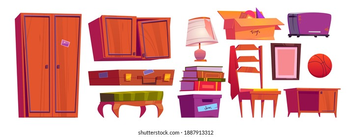 Old furniture, archive items on house attic or in storage room. Vector cartoon set of vintage chair, wooden wardrobe, books, cardboard boxes, broken lamp and toaster isolated on white background