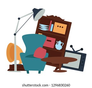 Old furniture garage sale second hand goods selling vector armchair with cushion and table TV set and wooden cupboard with dishware plates and teapot gramophone and lamp cheap price shopping.