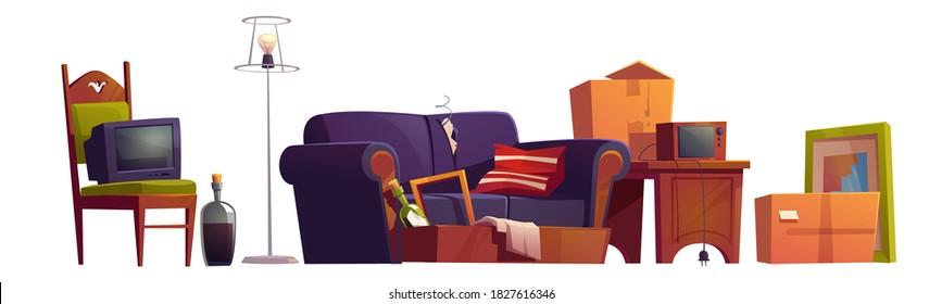 Old furniture, room stuff and alcohol bottles, broken sofa, wooden chair with antique switched-off TV set, carton boxes, retro radio on wood table and floor lamp, Cartoon vector illustration, icons
