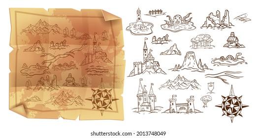 Old game map, vector vintage parchment illustration, travel doodle cartography object set, wind rose. Fantasy kingdom, castle, mountains, ruin sketch kit. Grunge parchment piece, ancient old map