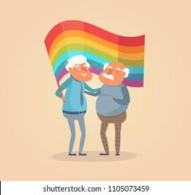 Old gay couple. Man Vector. Cartoon. Isolated art