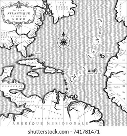 Old geographic map of Atlantic ocean region lands in a free interpretation with text. Retro chart background in black and white. Vintage engraving stylized 