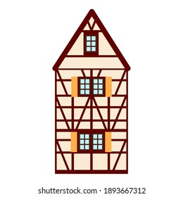 Old german house with red wooden beams. beige and brown colored half timbered building. Flat facades of european framing houses, cottages.