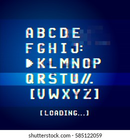Old glitchy computer screen software type letters. Vector illustration