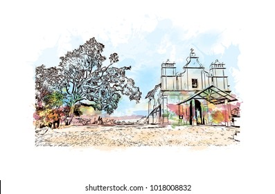 Old Goa, India. Watercolor splash with hand drawn sketch illustration in vector.