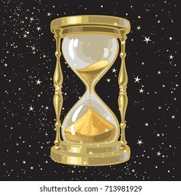 Old gold hourglass or sandglass on starry sky background. Time and universe concept. Cartoon hand drawn vector illustration.