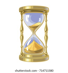 Old gold hourglass. Time concept. Cartoon hand drawn vector illustration.