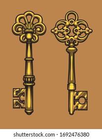 old gold keys vector illustration