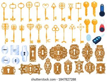 Old golden lock keys isolated vector illustrations set. Safety privacy antique and modern secure keys, security door keyhole icons set. Unlock protection secret. Vintage and retro keys. Safety.