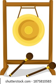 Old gong, illustration, vector on white background