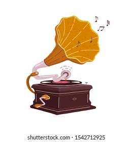 Old gramophone isolated on a white background. Vector flat illustration. Playing music.
