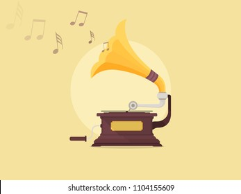 Old gramophone isolated on a yellow background. Vector flat illustration. Playing music.