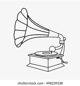 Old gramophone outline. vector stock illustration. Gramophone sign, Gramophone icon, Gramophone illustration, Gramophone vector, Gramophone flat, Gramophone isolated