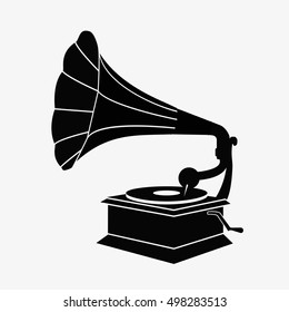 Old gramophone silhouette. Flat vector stock illustration. Gramophone sign, Gramophone icon, Gramophone illustration, Gramophone vector, Gramophone flat, Gramophone isolated