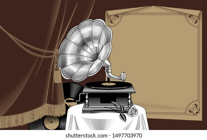 old gramophone with vinyl records and rose on the background of a curtain and a sheet of paper with a decorative frame. Vintage color engraving stylized  drawing. Vector illustration