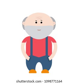 Old grandfather with white beard cartoon Character