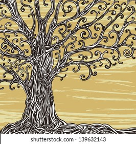 Old graphic tree with twisted roots on a brown background.
