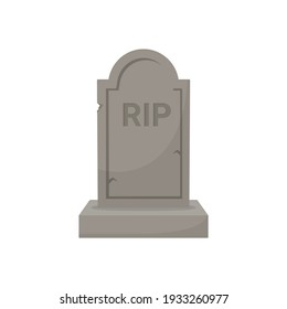 Old gravestone isolated on white background. Concept holiday halloween, death, rip. Cartoon flat design. Vector illustration.