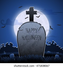 Old gravestone at night with happy halloween word in cemetery with full moon, Halloween background card poster