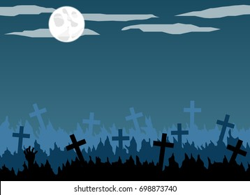 Old graveyard with crosses in the moonlight flat design.