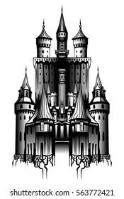 the old gray castle with high towers