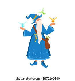 Old gray haired mage with beard holding flying little fairies. Portrait of aged sorcerer with a bag of herbs. Cute wizard man in magical costume. Flat vector cartoon illustration isolated on white