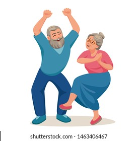 old gray-haired man and woman rejoice, the old man raised his hands, the old woman was dancing