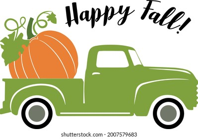 Old green truck with pumpkin on the platform with the inscription Happy Fall