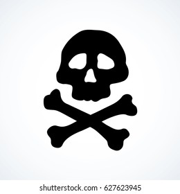 Old grim corsair roger skul isolated on white backdrop. Web game over outline shape logotype concept. Freehand black ink linear hand drawn emblem sketchy in art retro scribble style pen on paper