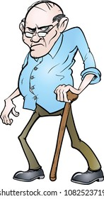 Old grouchy man vector illustration