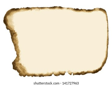 Old Grunge Paper with Burnt Edges Isolated on white background. Vector Illustration.