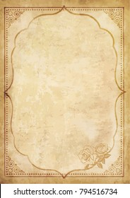 Old grungy vintage paper blank curly stock vector royalty free old grungy vintage paper blank with curly oriental frame ornament and lovely rose flower in the maxwellsz
