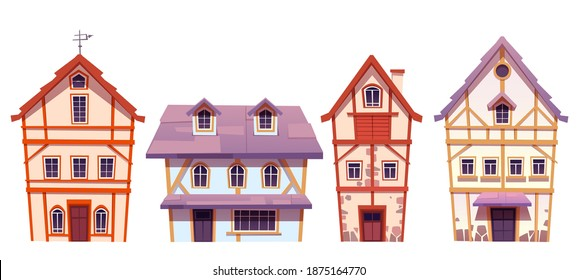 Old half-timbered houses in german village. Traditional medieval european buildings. Vector cartoon set of fachwork cottages with facade from stone and timber isolated on white background