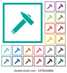 Old hammer flat color icons with quadrant frames on white background