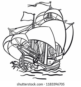 vintage ship drawing images stock photos vectors shutterstock Caravel Ship Cartoon old hand drawn pirate sailing ship in rough sea with cocked sails vector graphics