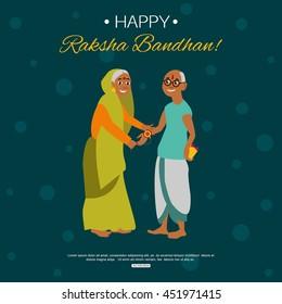 Old happy brother and sister celebrating Raksha Bandhan tying rakhi. Indian traditional holiday background. Vector eps 10 format.
