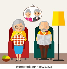 Old happy European man woman family sitting in an armchair at home. Vector Illustration of European age couple knitting reading and rest