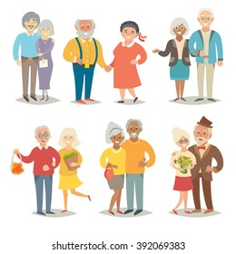 Old happy family/Asian eldery family/plus size pensioners couple/International family/ Vegan older people/African happy family/Wedding elderly people/Flat style vector illustration isolated on white