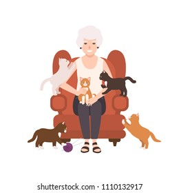 Old happy lady or grandmother sitting in comfy armchair surrounded by cats. Portrait of grandma at home. Smiling female flat cartoon character isolated on white background. Vector illustration