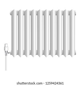 Old heat radiator icon. Realistic illustration of old heat radiator vector icon for web design isolated on white background