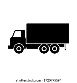 Old heavy off-road truck icon. Side view. Black silhouette. Vector graphic illustration. Isolated object on a white background. Isolate.