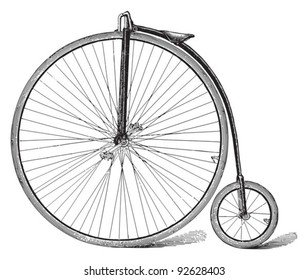 Old high wheel bicycle / vintage illustration from Meyers Konversations-Lexikon 1897